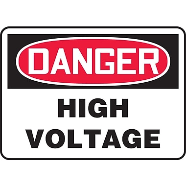 Accuform Signs® - Panneau de sécurité « DANGER HIGH VOLTAGE », 10 po x 14 po, plastique