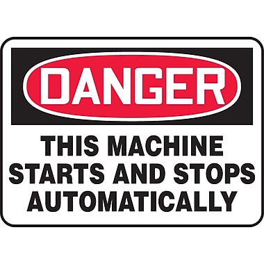 Accuform Signs® - Panneau de sécurité « DANGER THIS MACHINE STARTS AND STOPS AUTOMATICALLY », 10 po x 14 po