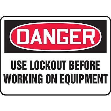 Accuform Signs® - Panneau de sécurité « DANGER USE LOCKOUT BEFORE WORKING ON EQUIPMENT », 10 po x 14 po