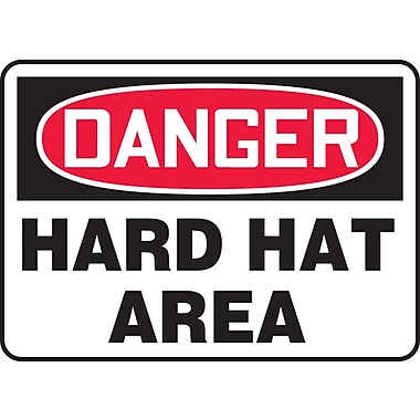 Accuform Signs® - Panneau de sécurité « DANGER HARD HAT AREA », 10 po x 14 po
