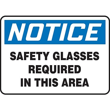 Accuform Signs® - Panneau de sécurité « NOTICE SAFETY GLASSES REQUIRED IN THIS AREA », 10 po x 14 po, vinyle adhésif