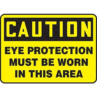 Accuform Signs® - Panneau de sécurité « CAUTION EYE PROTECTION MUST BE WORN IN THIS AREA », 10 po x 14 po, plastique