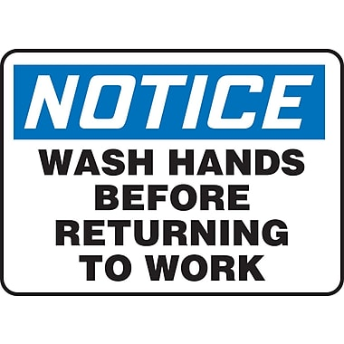 Accuform Signs® - Panneau de sécurité « NOTICE WASH HANDS BEFORE RETURNING TO WORK », 7 po x 10 po, plastique