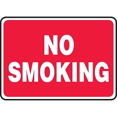 Accuform Signs® - Panneau de sécurité « NO SMOKING » (blanc/rouge), 7 po x 10 po