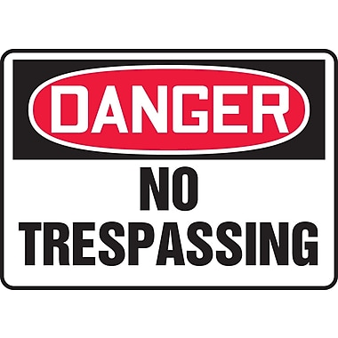 Accuform Signs® - Panneau de sécurité « DANGER NO TRESPASSING », 10 po x 14 po