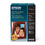 "Epson 4"" x 6"" 79 lbs. Ultra Premium Glossy Photo Paper, White, 60 Sheets"