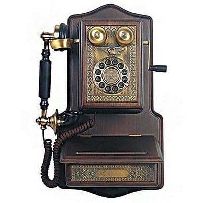 Paramount 93577140M Single Line Corded Reproduction Phone, Black/Brown