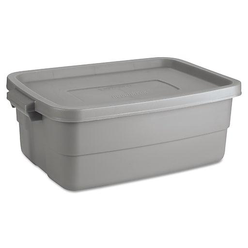 """Rubbermaid 10 Gallon Roughneck Storage Box, 8.75""""L x 24""""W x 16""""D, Gray (RHP 2214TP STE)"""