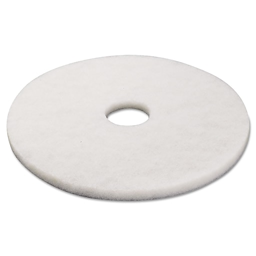 """Premiere® Floor Pads, Polishing, 17"""", White, 5 Pads/Case"""