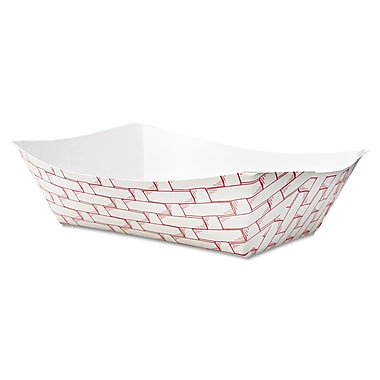 Boardwalk® 3 lbs. Paper Food Tray, Red Weave, 500/Pack