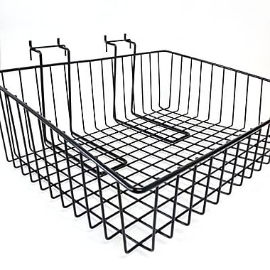 Panier en fil de fer pour panneau à fentes/grillagé, 15 larg. x 12 prof. x 5 haut. po, noir
