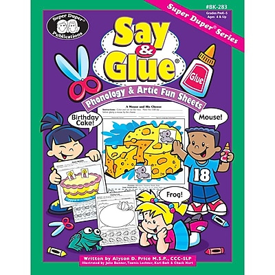 Super Duper® Say and Glue Phonology and Artic Fun Sheets Book
