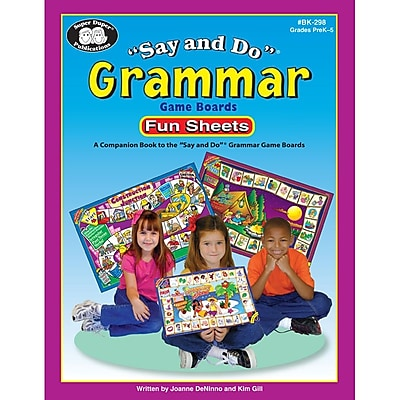 Super Duper® Say & Do® Grammar Game Boards Reproducible Fun Sheets Companion Book, Grades PreK-5