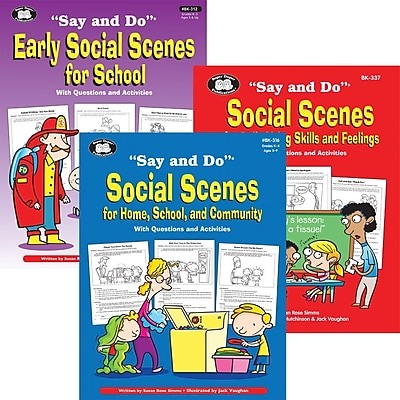 Super Duper® Say and Do® Social Scenes Life Skills Resource Combo Book, 2/Bundle