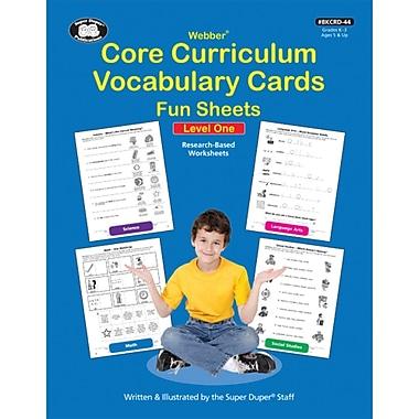 Super Duper® Webber® Core Curriculum Vocabulary Cards Fun Sheets Book, Level One