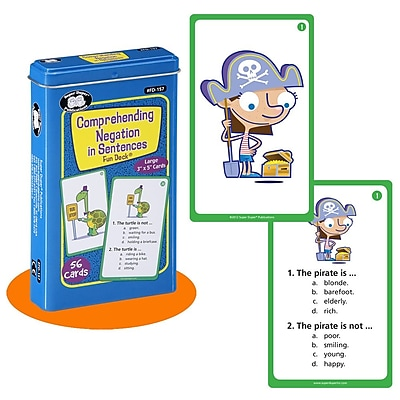 Super Duper® Comprehending Negation in Sentences Fun Deck Cards