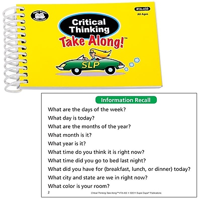 Super Duper® Critical Thinking Quick Take Along Mini-Book, All Ages