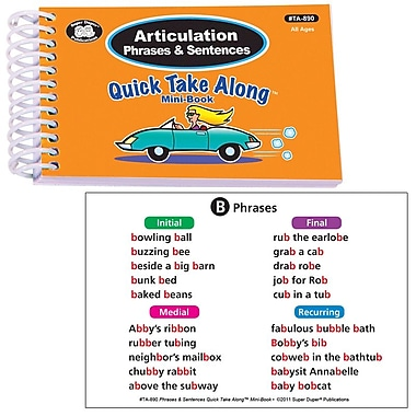 Super Duper® Articulation Phrases & Sentences Quick Take Along Mini Book, All Ages