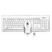 Buslink RF-6572L-WH RF 2.4 GHz Nano USB Wireless Keyboard Laser Mouse Set, White