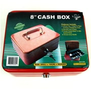 "Trademark Global® Stalwart™ 8"" Key Lock Cash Box With Coin Tray, Red"