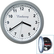"10"" x 10"" Hidden Safe Wall Clock, Silver"