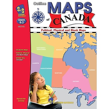 Outline Maps of Canada Book for Grades K-8