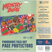 "C-Line Memory Book Panoramic Fold - Out Page Protector, 12"" x 12"", Clear"