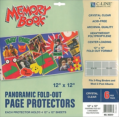 C-Line Memory Book Panoramic Fold - Out Page Protector, 12