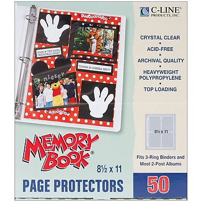 C-Line Memory Book Top - Load Page Protectors, 8 1/2