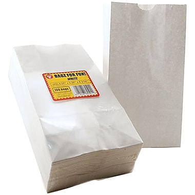 Hygloss 62101 Flat Bottom White Gusseted Bags, 4.5