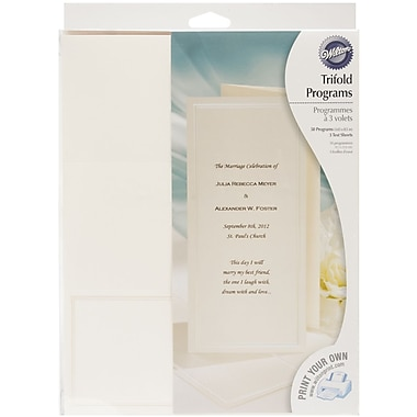 Wilton® Keeping With Tradition Trifold Programs Kit, 50/Pack