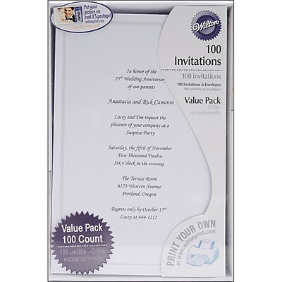 Wilton 8 12 x 5 12 Single Border Invitation Kit White 100
