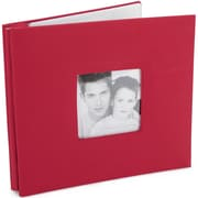 "MBI Fashion Fabric Cover Postbound Album With Window, 8"" x 8"", Red"