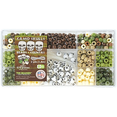 Beadery® Bead Box Kit, Camo Skulls, 579 Pieces