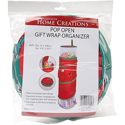 General Products Pop-Open Christmas Gift Wrap Organizer, Red