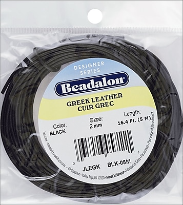 Beadalon® 2 mm Greek Leather Round Lace, Black