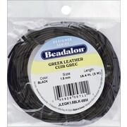 Beadalon JLEGK-BLK15 1.5mm Black Greek Leather Round Lace, 16.4'