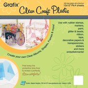 "Grafix K20CP124 Clear Craft Plastic Sheets, 12"" x 12"", 4/Pack"