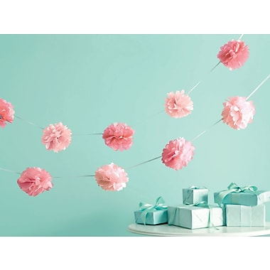 Martha Stewart M4410041 Pink Celebrate Decor Pom-Pom Garland, 6