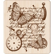 "Inkadinkado® 3 1/2"" x 4"" Mounted Rubber Stamp, Time Flies Collage"
