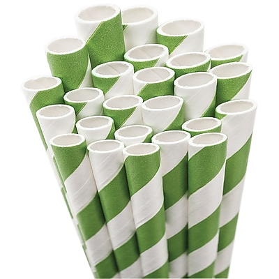 Aardvark STRAW-KGRN Jumbo Unwrapped Striped Kelly Green Straws, 7.75