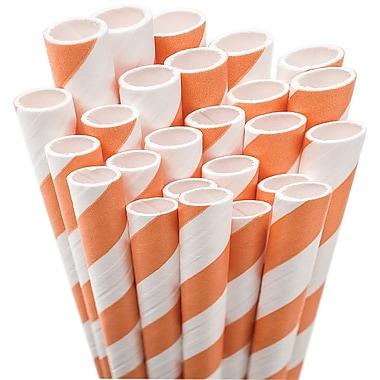 Aardvark STRAW-ORNGE Jumbo Unwrapped Striped Orange Straws, 7.75