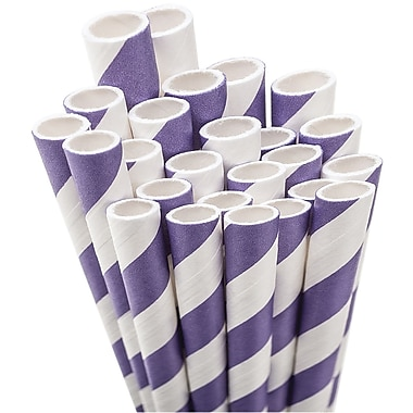 Aardvark STRAW-PURPL Jumbo Unwrapped Striped Purple Straws, 7.75