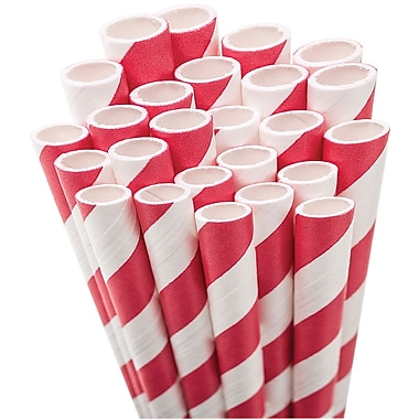 Aardvark STRAW-RED Jumbo Unwrapped Striped Red Straws, 7.75