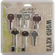 "Advantus™ Tim Holtz® Idea-Ology Word Keys, 3"" x 1 1/2"", 7/Pack, Antique Nickel"