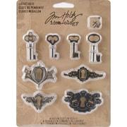 """Advantus™ Tim Holtz® Idea-Ology Metal Locket Keys & Keyholes, 1 1/4"""" x 3/4"""", Antique"""