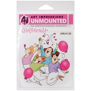 """Art Impressions 3 5/8"""" x 4"""" Girlfriends Cling Rubber Stamp, Party Girls"""