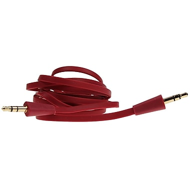 Logiix Flat Flex Aux 3.5 mm Cable, Red, LGX-10566