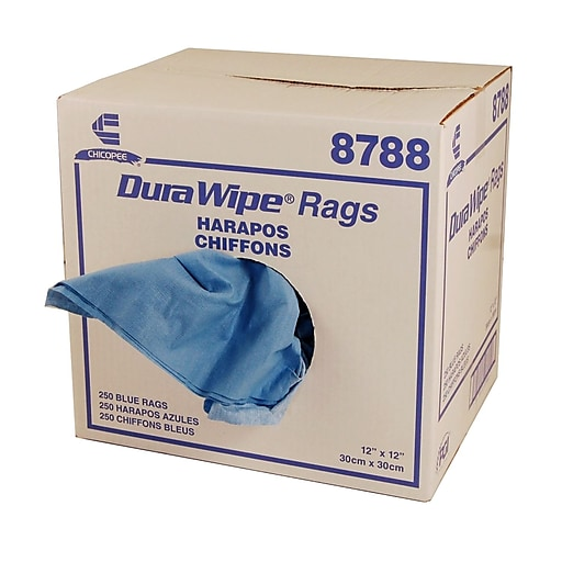"""Chicopee® Durawipe® 12"""" x 12"""" Creped Rags Towel, 250/Case"""