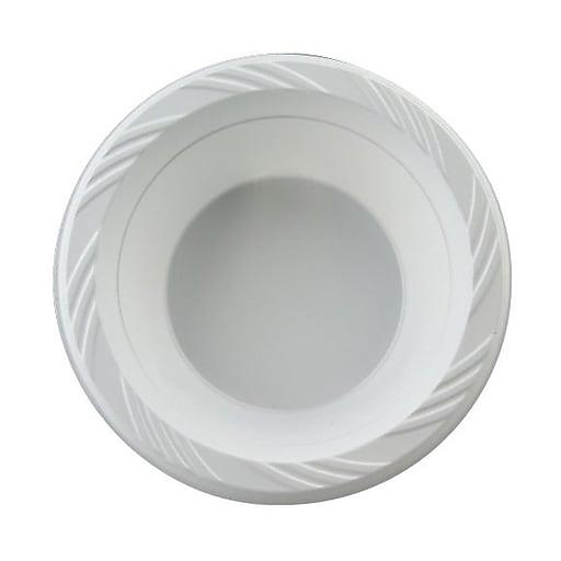 Plastic Bowls, 12 Ounces, White, Round, Lightweight, 125/Pk